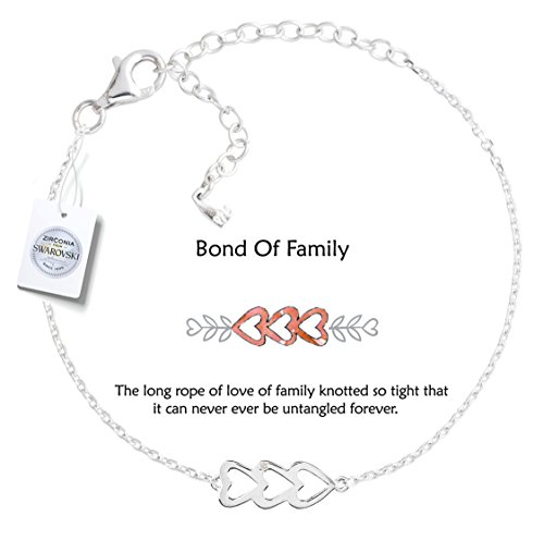 Vivid&Keith Womens Girls 925 Real Sterling Silver 18K Plated Swarovski Zirconia Cute Adjustable Gift Fashion Jewelry Link Chain Charm Pendant Bangle Bracelet, Triple Heart, White Gold - Heart Anklet Triple