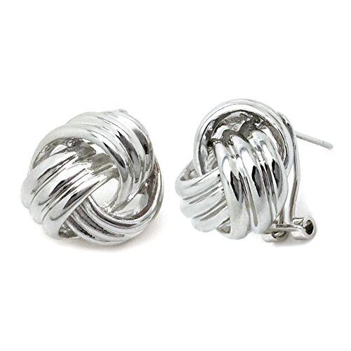 Sparkly Bride Love Knot Stud Earrings Rhodium Plated Omega (French Back Earrings)
