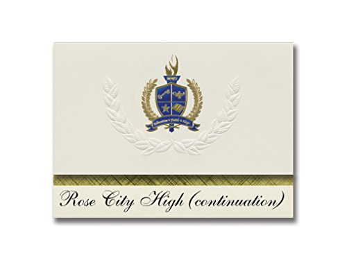 Signature Announcements Rose City High (continuation) (Pasadena, CA) Graduation Announcements, Presidential style, Elite package of 25 with Gold & Blue Metallic Foil -