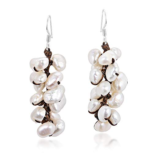Cluster Cultured Freshwater White Pearl .925 Sterling Silver Dangle ()