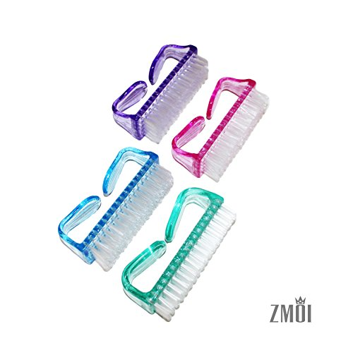 ZMOI 4 Pieces Handle Clean Nail Brush Nail Hand Scrubbing Cleaning - Glasses Tampico