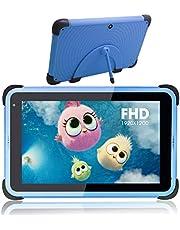 8 tums barnplatta, Android 11 pekplattor för barn med WiFi, IPS HD -skärm, 32 GB ROM 3 GB RAM, barnsäkert fodral med stativ (blått)