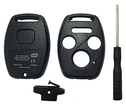 Replacement Keyless Entry Key Fob Case Fit For Honda 2003-2007 Accord 2005-2006 CR-V Ridgeline Civic Remote Control Key Combo 4 Buttons Replacement Car Key Shell Casing Blank Without Blade ()