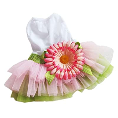 PanDaDa Dog Daisy Gauze Tutu Dress Skirt Pet Dog Cat Princess Clothes Bowknot Dress