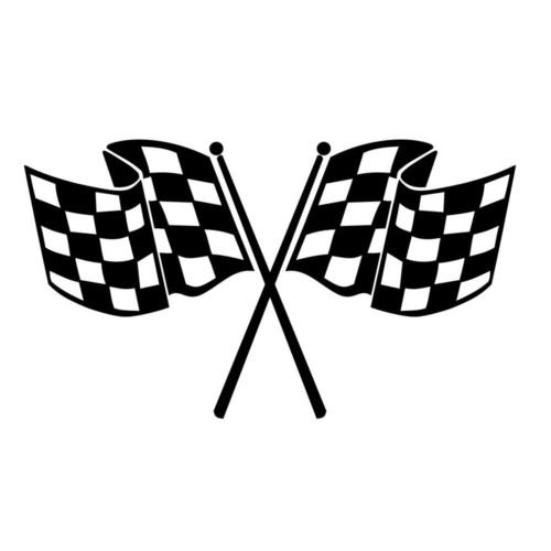 Flag Sticker Checkered Racing Decal (Checkered Flag Vinyl Decal Window Sticker Car Graphic Race Racing Finish Line, Die cut vinyl decal for windows, cars, trucks, tool boxes, laptops, MacBook - virtually any hard, smooth surface)