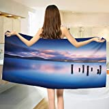 Chaneyhouse Nature,Baby Bath Towel,Wooden Pier Tops Remain in Lake with Sunset Mirror Image Out Different Perspectives,Print Wrap Towels,Royal Blue Size: W 10'' x L 39.5''
