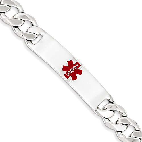 Sterling Silver Polished Medical Curb Link ID Bracelet Length 8.5'' by Jewelry Adviser Bracelets
