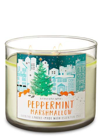 Bath and Body Works White Barn Peppermint Marshmallow Candle 3 Wick 14.5 Ounce