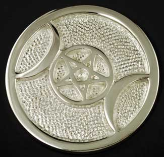 (AzureGreen Shinny Silver Triple Moon Pentacle Meditation Altar Tile 3 1/2)