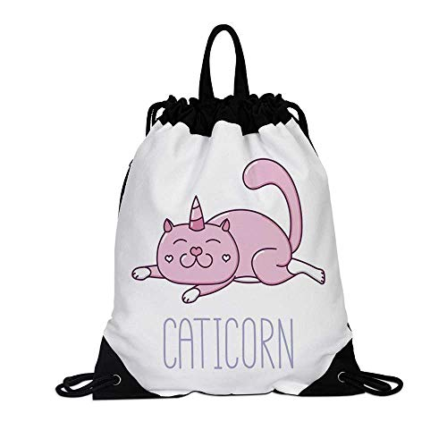 Unicorn Cat Canvas Drawstring Bag,Pink Cat with a Horn and Funny Expression Lying Caticorn Cartoon Mascot for Travel School,7.4