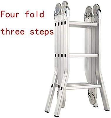WLG Escalera de mano, escalera de aluminio Escalera de puente plegable multifuncional En 131 Capacidad de carga estándar 150 kg,Cuatro veces tres pasos: Amazon.es: Bricolaje y herramientas