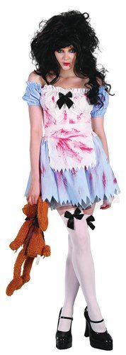Zombie Alice Costumes (Zombie Alice Girl Ladies Fancy Dress Costume (US 10-12))