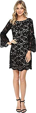 Vince Camuto Women's Lace Shift Dress w/ Flounce Sleeve and Scalloped Hem Black Dress