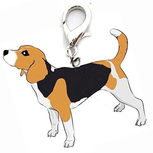 OHA Pet Beagle Charm Porte-clés Chien de Chasse et chasseur préférée * Noir/marron/blanc * Collier pour chien pendentif bijoux pendentif design DP-Store