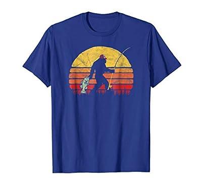 Bass Fishing Funny Bigfoot in Trucker Hat Retro T-Shirt