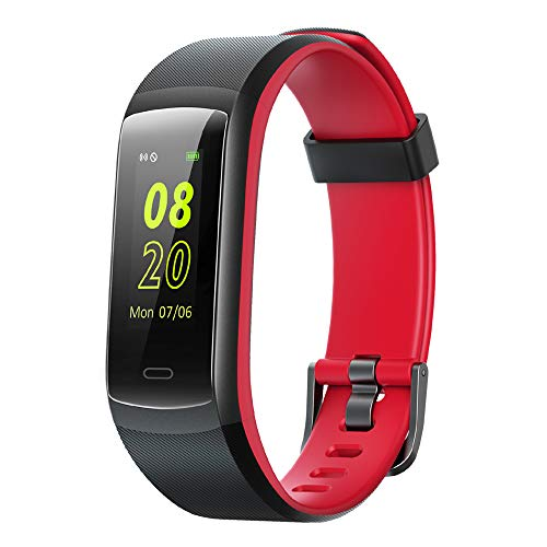 YAMAY Fitness Tracker, Fitness Watch Heart Rate Monitor Activity Tracker,Color Screen Dual-Color Bands IP68 Waterproof,with Step Counter Sleep Monitor 14 Sports Tracking for Women Men Kid (Black-Red)