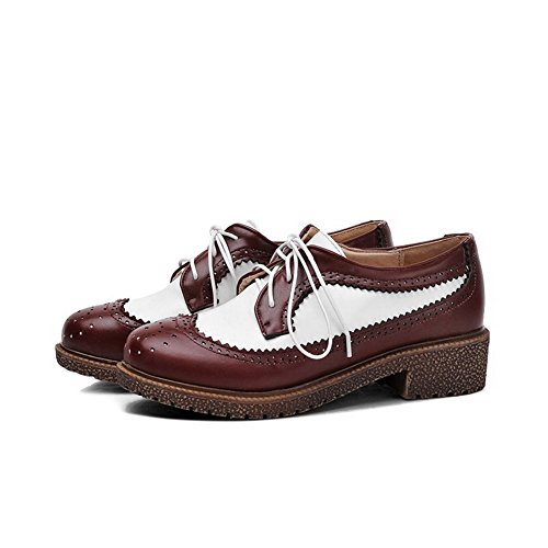 Allhqfashion Donna Tacco Basso Materiale Morbido Colore Assortito Punta Tonda Chiusa Pompe-scarpe Claret
