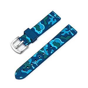 Ullchro Silicone Watch Strap Replacement Rubber Watch Band Waterproof Camouflage Military Men Women - 18mm, 20mm, 22mm, 24mm Watch Bracelet with Brushed Stainless Steel Buckle (18mm, Blue)