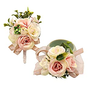 Bomandu Wedding Wrist Corsage and Boutonniere Set Ribbon Corsage Vintage Artificial Rose Boutonnieres for Wedding Boutonnieres Bride Bridesmaid Corsage Wedding Decor, 2Pcs/Set 117