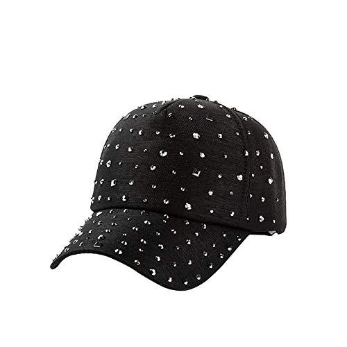 U-WARDROBE Women Men Adjustable Rhinestone Studded Bling Tennis Baseball Cap Sun Cap Hat Black