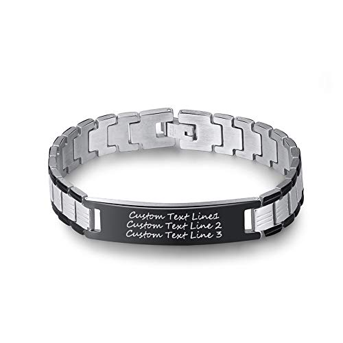 LMXXV Customizeable Personalized Gift for Dad Husband 12MM 2 Tone Stainless Steel Adjustable Link Bracelet