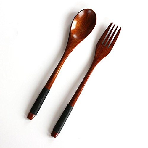 2PCS Wooden Dinnerware Set Fork Bamboo Kitchen Cooking Utens