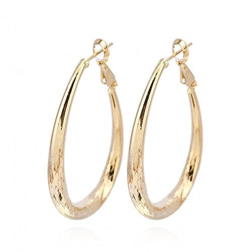 IPINK Real 18K Gold Filled Lady's Hoop Earrings Big Circle Jewelry