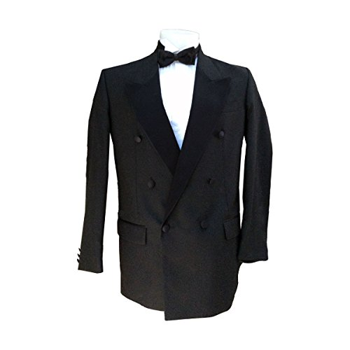 Peak Double Breasted Jacket Tuxedo (Men's Black Double Breasted Peak Collar Tuxedo Jacket, Wool Blend (42 Reg))