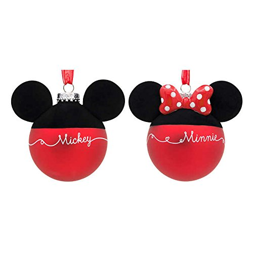 Disney Blown-Glass Christmas Holiday Ball Ornaments - Mickey & Minnie Mouse Silhouettes & Signatures, Set of 2 -