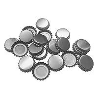 Nuevas tapas de botellas de cerveza, sellos de corona de plata que absorben el oxígeno para elaborar cerveza casera o hacer manualidades 144 piezas