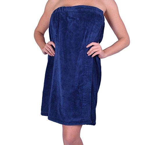 anatolian Womens Body Wrap Towel - 100% Cotton Adjustable Bath Cover Up - Made in Turkey (Navy Blue, 1) (Rap Around Bath Towel)