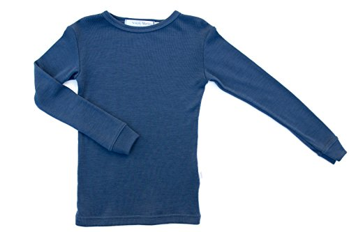 Pure Merino Wool Kids Thermal Top. Base Layer Underwear Pajamas. Blue 9-10 ()