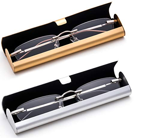 2 Pairs Reading Glass in Hard Case Super Lightweight Aluminum Front Open Case on the Go Rimless Reading Glasses 1.00 Stylish Reading Glasses for Men Women ()