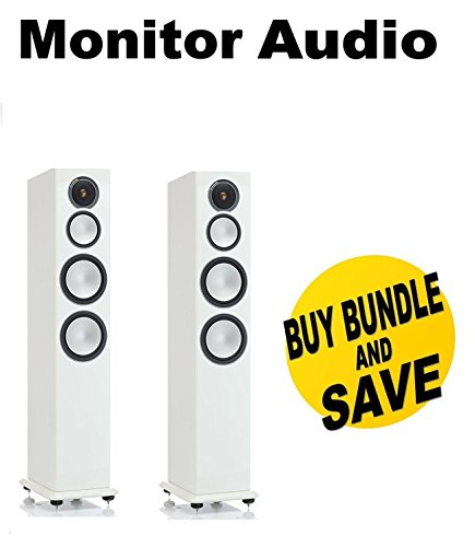 Monitor Audio Silver 10 Three-Way Tower Speaker (High Gloss White Lacquer) (1 Pair) Bundle by MONITOR AUDIO