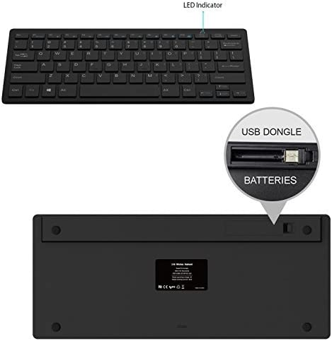Black Wireless Mini Ultra Slim Keyboard and Mouse For Easy Smart TV Contol for Sony Bravia KD-49X8500B Smart TV