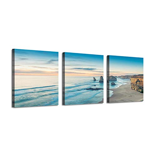 Beach Scene Picture Seascape Art: Ocean Water Artwork Prints on Canvas (16''x16'' x 3 Panels) Set for Wall Decor