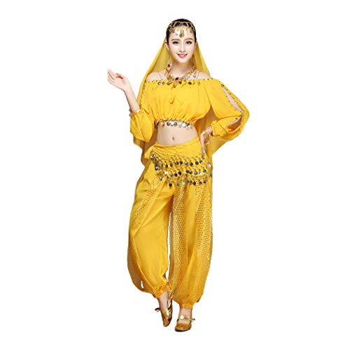 Maylong Women's Long Sleeve Belly Dancing Outfit Halloween Costume DW17 (Yellow)