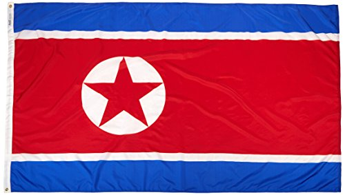 Annin Flagmakers Model 221499 North Korea Flag Nylon SolarGuard NYL-Glo, 5×8 ft, 100% Made in USA to Official United Nations Design Specifications For Sale
