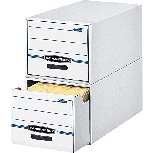 STOR/DRAWER File Drawer Storage Box, Legal, White/Blue (Case of 6) - BANKERS BOX 00722