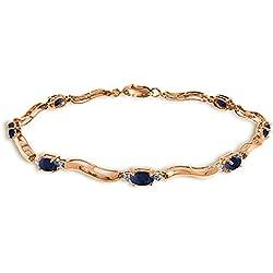 2.01 CTW 14K Solid Rose Gold Tennis Bracelet Diamond Sapphire