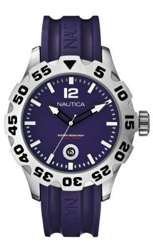 Nautica Men's A14615G Purple Rubber Band Watch