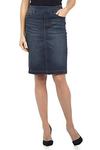 Rekucci Jeans Women's Ease in to Comfort Fit Pull-on Stretch Denim Skirt (4,DK WASH Sand)