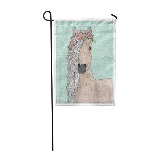 Semtomn Garden Flag 28x40 Inches Print On Two Side Polyester Animal Cute Horse Flowers Fairytale Crown Hair Home Yard Farm Fade Resistant Outdoor House Decor Flag ()