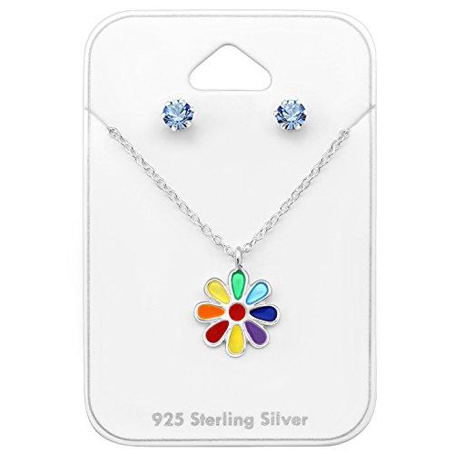 Tata Gisele© juego de collar y pendientes (plata 925/000rhodié, cristal y epoxy–flor–, Multicolor