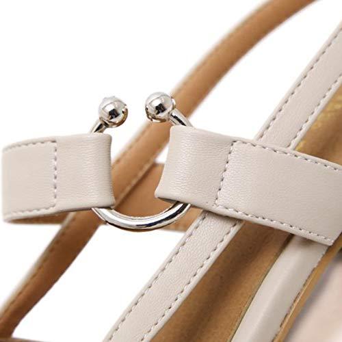 Lavoro Fannullone Scarpe Stile Con Beige Da Donna Tacco Zeppa Piatto A YY7w5rAqx