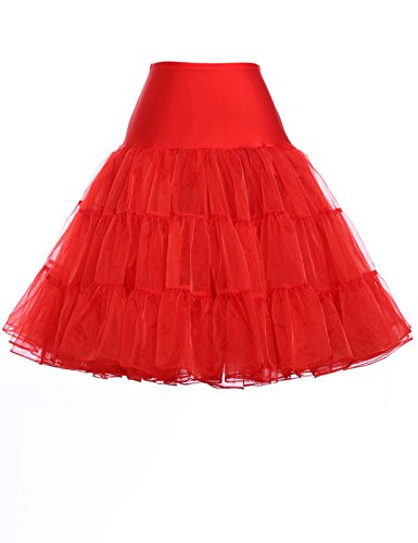 GRACE KARIN Short Bridal Tutu Skirt Underskirt for Wedding Dresses (1X,Red) (Bridal Chiffon Skirt)