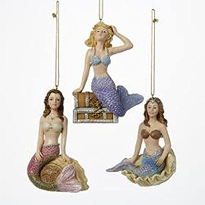 Kurt Adler, Set of 3, Resin Mermaid Beauty Ornaments, C6711