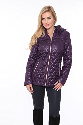 Purple Puffer - White Mark Women's Plus Size Quilted Puffer Jacket Detachable Hood Purple - 2XL