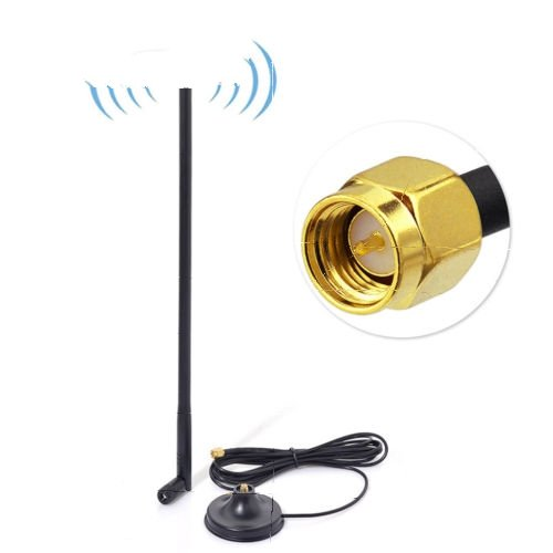 4-Pack 15dBi Dual Band 2.4GHz 5GHz 5.8GHz WiFi Antenna with SMA Magnetic Base by Custom Cables Group LLC