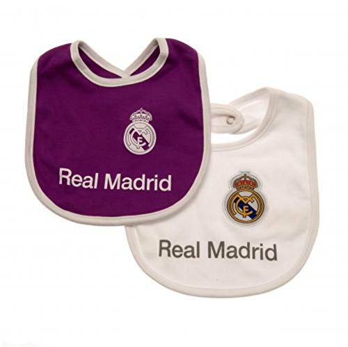 Real Madrid - Baberos para bebé (2 Unidades), Color Blanco y Morado